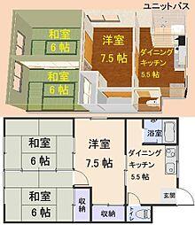 鳴海荘[3号室]の間取り