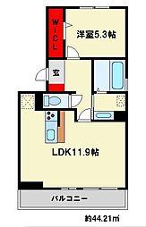 福岡県大野城市白木原5丁目の賃貸アパートの間取り