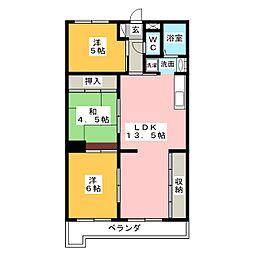 ロジィングス藤井[3階]の間取り
