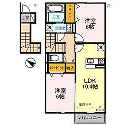 兵庫県三木市志染町広野の賃貸アパートの間取り