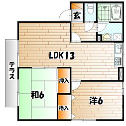 パストラルYUGAWA B棟[1階]の間取り