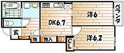福岡県北九州市若松区藤ノ木1丁目の賃貸アパートの間取り