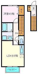 JR仙石線 苦竹駅 徒歩10分の賃貸アパート 2階1LDKの間取り
