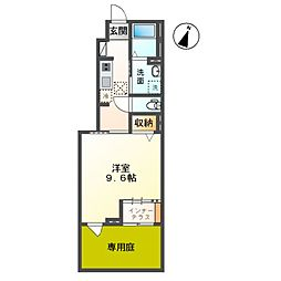 袖ケ浦市奈良輪新築アパート 1階1Kの間取り