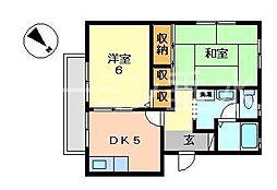 兵庫県神戸市垂水区仲田1丁目の賃貸アパートの間取り