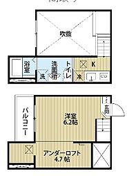 愛知県名古屋市守山区川西2丁目の賃貸アパートの間取り