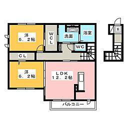 静岡県静岡市駿河区聖一色の賃貸アパートの間取り