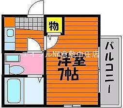 岡山県倉敷市鳥羽の賃貸アパートの間取り