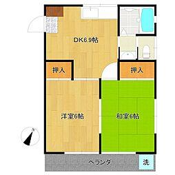 東京都清瀬市松山2丁目の賃貸アパートの間取り