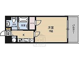 ティーズスクエア大阪城 6階1Kの間取り