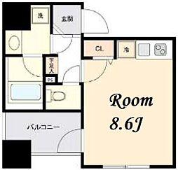 東京メトロ日比谷線 茅場町駅 徒歩5分の賃貸マンション 4階ワンルームの間取り