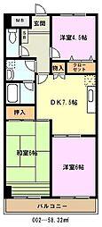 埼玉県川口市中青木5丁目の賃貸マンションの間取り