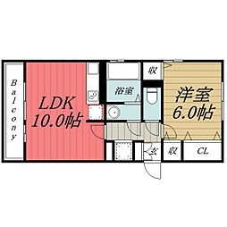 千葉県千葉市稲毛区天台4丁目の賃貸アパートの間取り