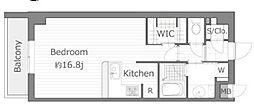 横浜市営地下鉄ブルーライン センター南駅 徒歩3分の賃貸マンション 2階1Kの間取り