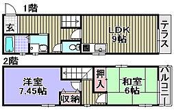 [タウンハウス] 大阪府岸和田市小松里町 の賃貸【/】の間取り