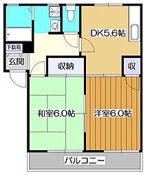 東京都東村山市久米川町3の賃貸アパートの間取り