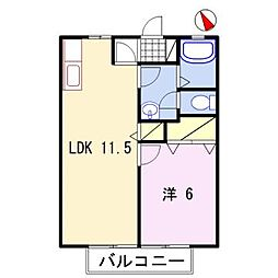 兵庫県姫路市青山北2丁目の賃貸アパートの間取り