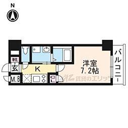エスカーサ京都四条梅津304 3階1Kの間取り