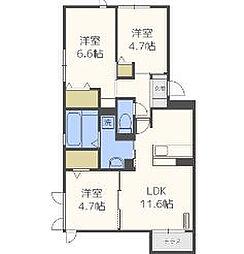 (仮)D-room鳥飼3丁目[3階]の間取り