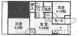 紫野ハイツ[2階]の間取り