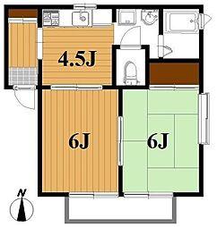 リーベンフルスII[2階]の間取り