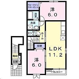 広島県福山市駅家町大字下山守の賃貸アパートの間取り