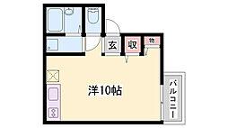 山陽電鉄本線 大塩駅 徒歩6分の賃貸アパート 1階ワンルームの間取り