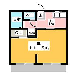 ヴィラ桝塚 A棟[1階]の間取り