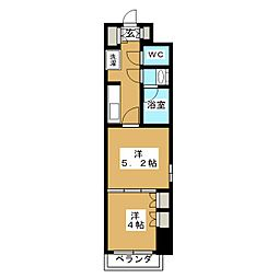 パークアクシス横濱大通り公園 7階2Kの間取り