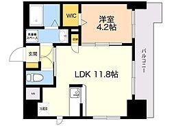 レスポワール 4階1LDKの間取り