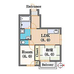 桜川シティハイツ[4階]の間取り