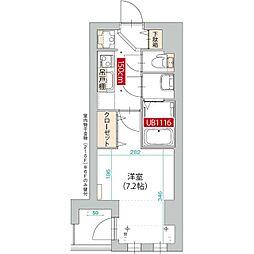 JR南武線 武蔵新城駅 徒歩2分の賃貸マンション 6階1Kの間取り