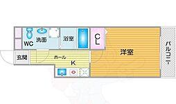 Osaka Metro四つ橋線 花園町駅 徒歩3分の賃貸マンション 10階1Kの間取り