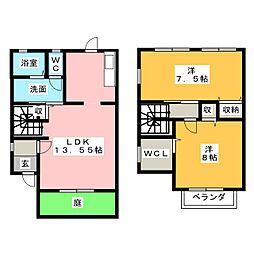 [テラスハウス] 愛知県岡崎市江口1丁目 の賃貸【/】の間取り