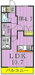 千葉県柏市酒井根4の賃貸アパートの間取り
