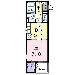 ホワイトスター 2階1DKの間取り