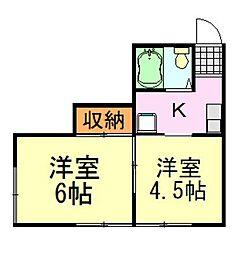 エスポワール飯田[2号室]の間取り