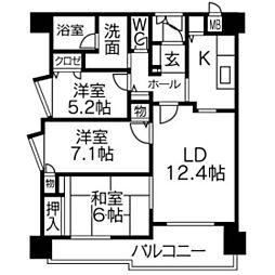 MJR久留米中央[8階]の間取り