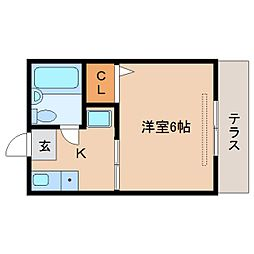近鉄天理線 天理駅 徒歩18分の賃貸アパート 1階1Kの間取り