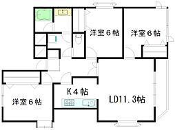 Kハウス 3階3LDKの間取り
