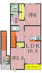 サニーフラットA[2階]の間取り