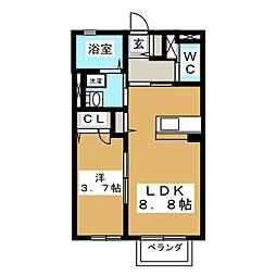 宮城県仙台市泉区向陽台4の賃貸アパートの間取り