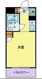 ユーコート武蔵小杉 4階ワンルームの間取り
