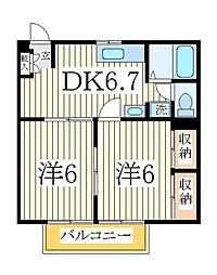 千葉県我孫子市日秀の賃貸アパートの間取り
