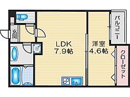 阪急京都本線 茨木市駅 徒歩11分の賃貸アパート 2階1LDKの間取り