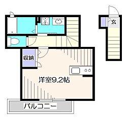 JR中央本線 東小金井駅 徒歩3分の賃貸アパート 3階ワンルームの間取り