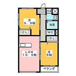 三重県松阪市嬉野中川新町2丁目の賃貸マンションの間取り