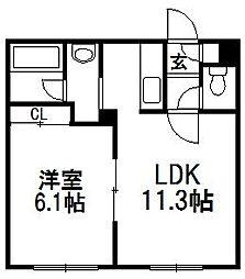 カムイH38[301号室]の間取り