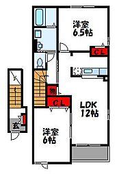 福岡県宗像市陵厳寺1丁目の賃貸アパートの間取り