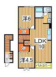 カーザジョバーネ[2階]の間取り